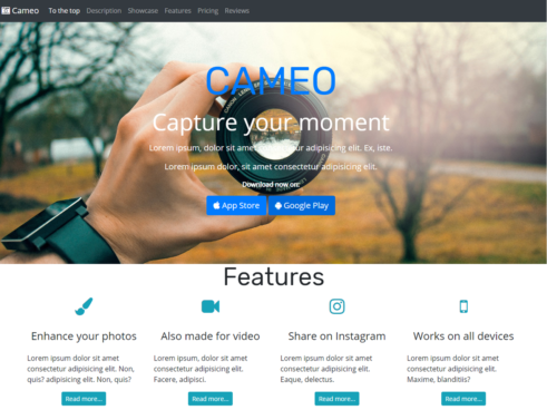 Cameo front-end site with Source code