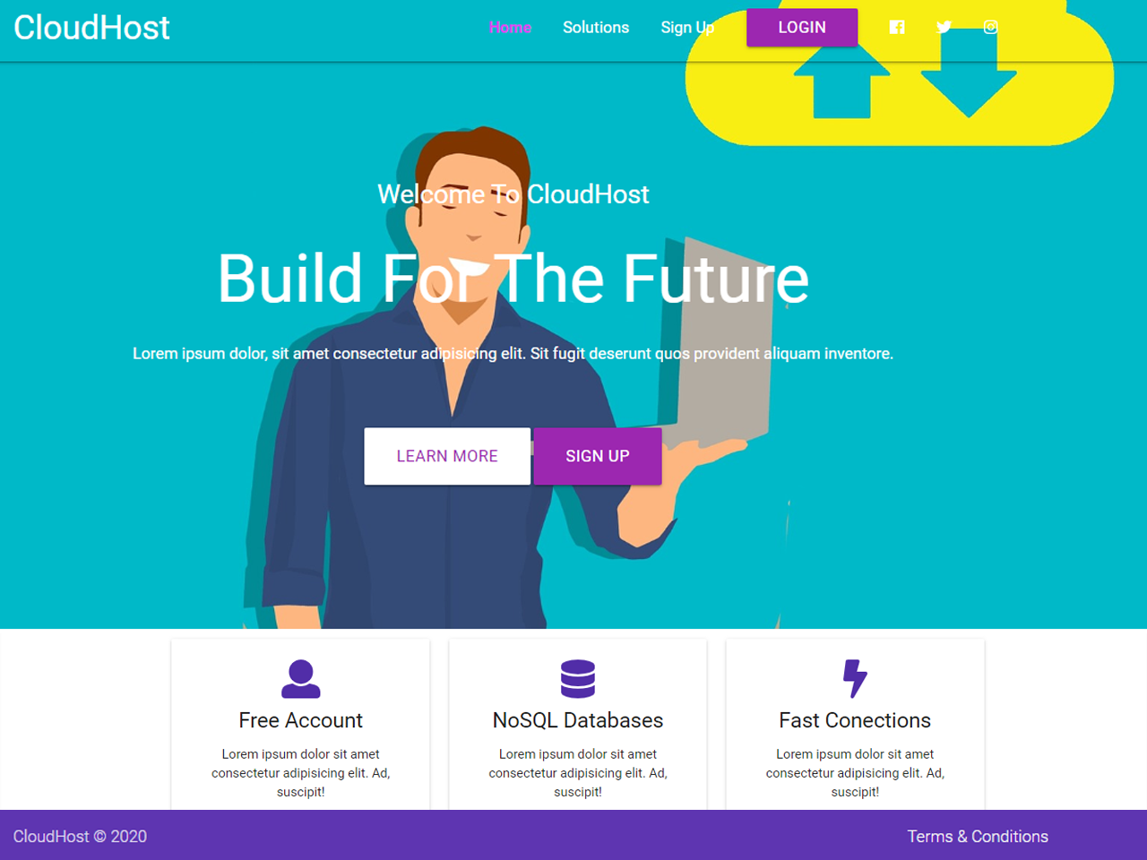 Cloud host front-end site with Source code