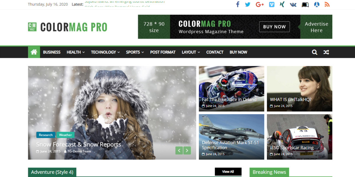 Blogging themes- colormag