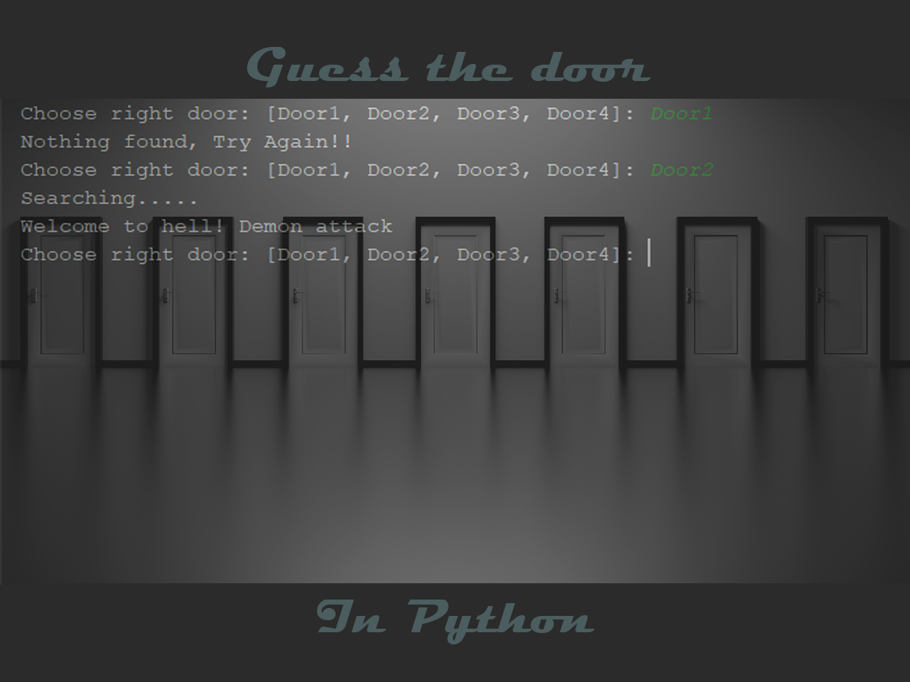 Guess the door game in python with Source code