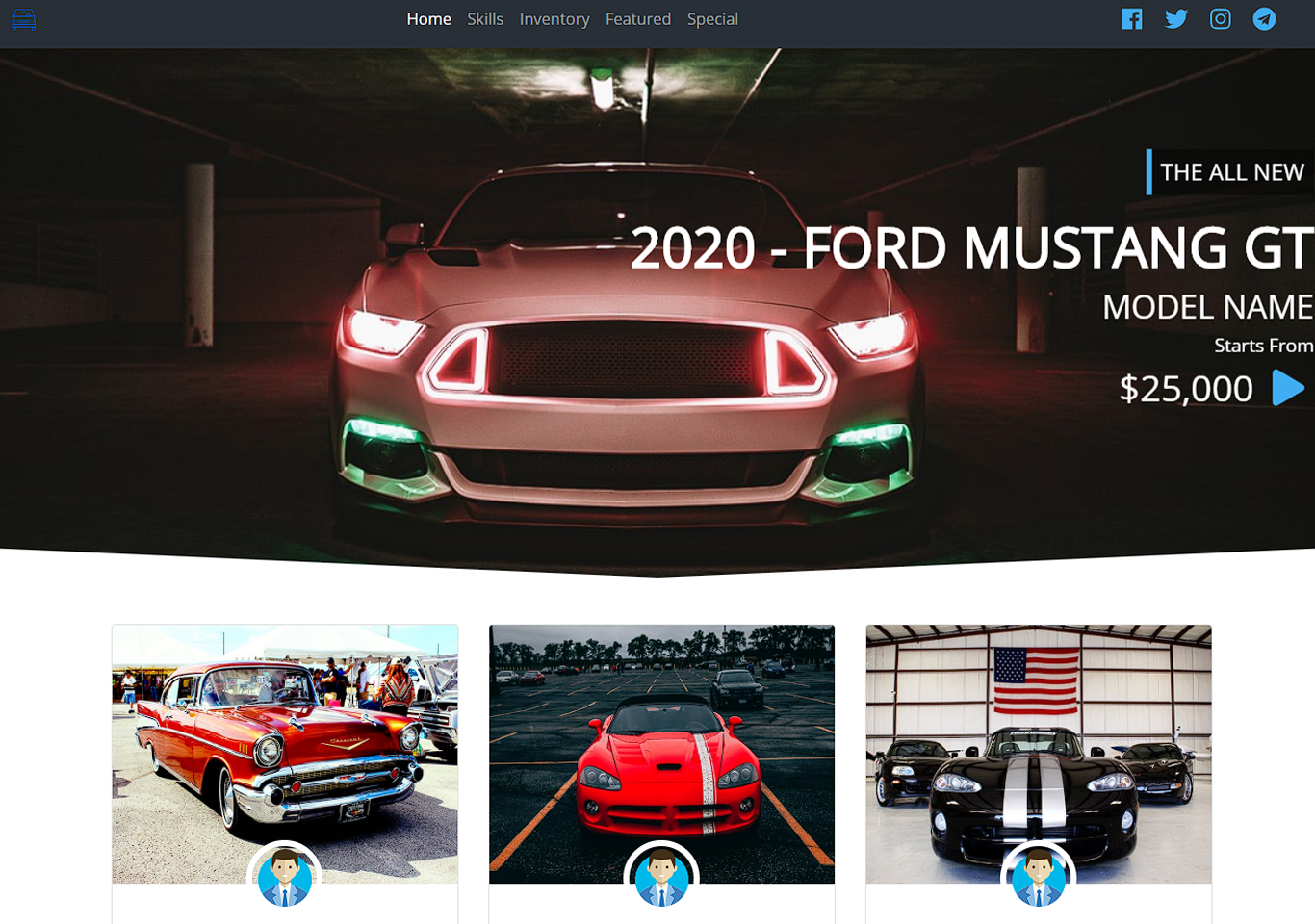 Car dealer frontend site in Bootstrap with Source code