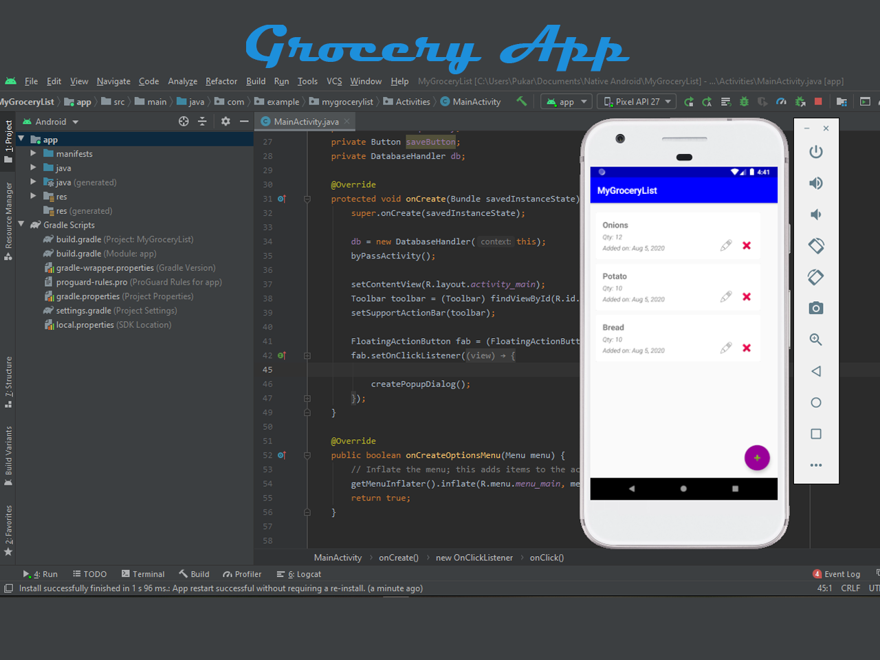 Grocery app in android with Source code