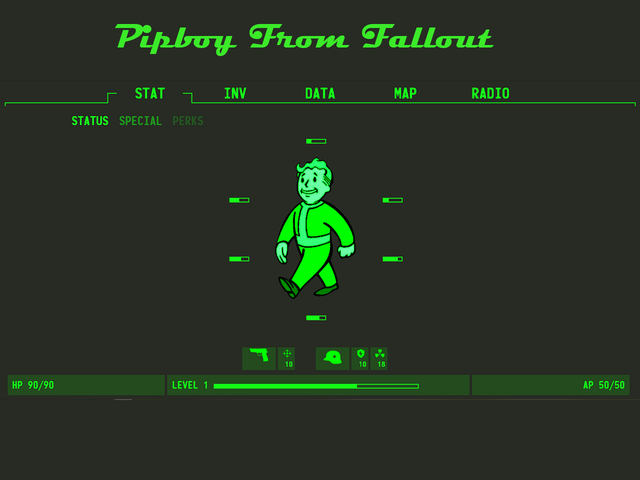 Pipboy from fallout 4 in HTML, CSS with Source code