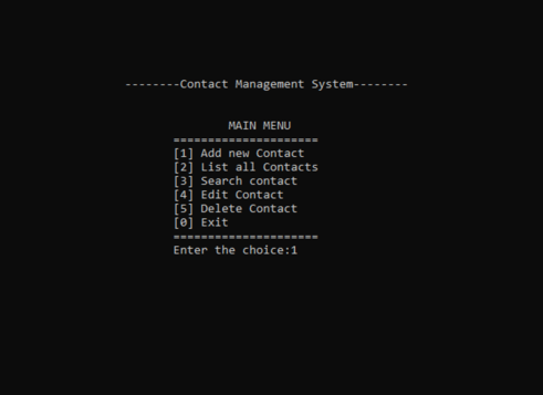 Contact management system in C with Source code