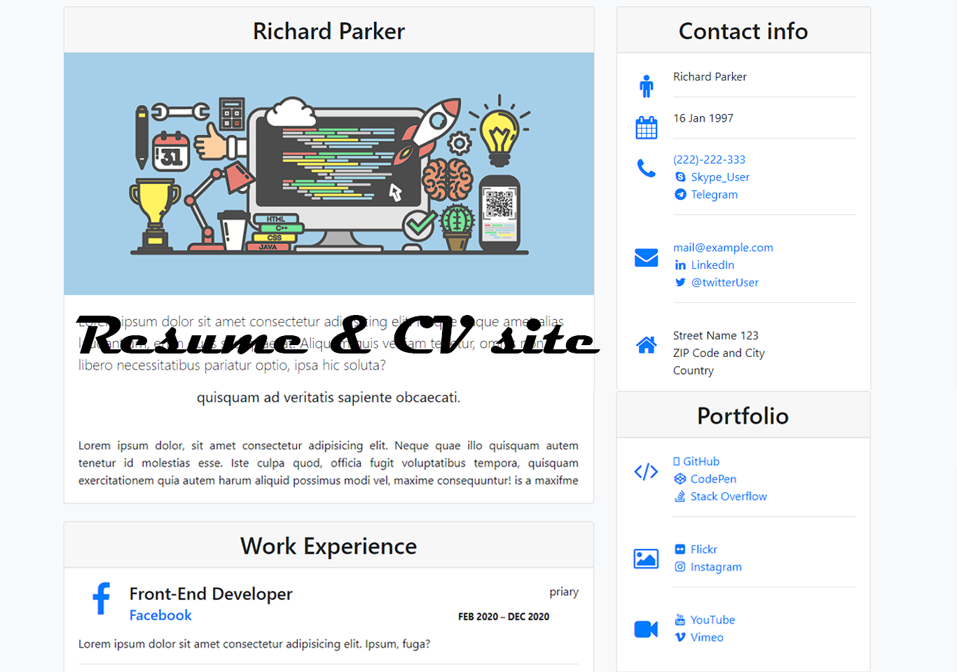 free resume and cv site in bootstrap 4 with source code