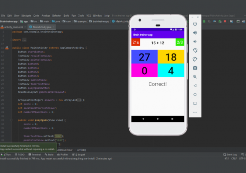 Brain trainer app in android with Source code