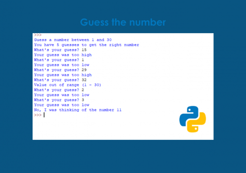Guess the number in python with Source code