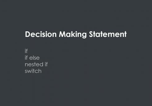 Decision making statement