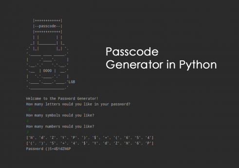Passcode generator in python with source code