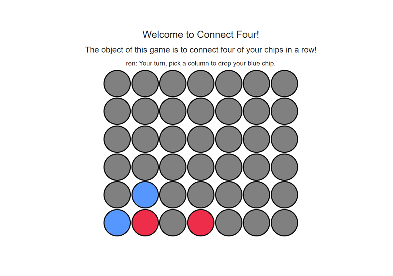 Connect four game in JavaScript with source code